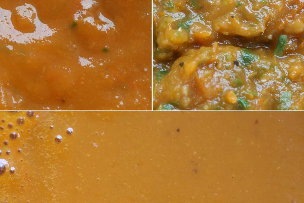הקטשופ מתבשל: משמאל לימין - 1. הרוטב לאחר שנטחן 2. השאריות לאחר הסינון 3. הרוטב המסונן מצטמצם